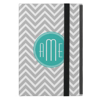 Elegant Modern Gray Chevron and Mint Monogram Case For iPad Mini
