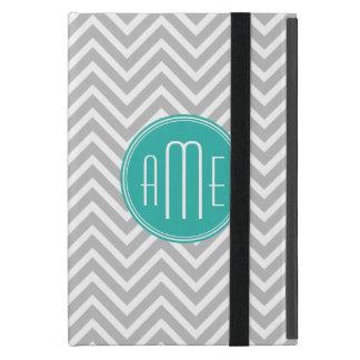 Elegant Modern Gray Chevron and Mint Monogram Case For iPad Mini