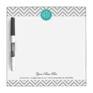Elegant Modern Gray Chevron and Mint Monogram Dry Erase Whiteboards