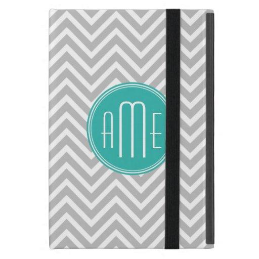 Elegant Modern Gray Chevron and Mint Monogram iPad Mini Covers