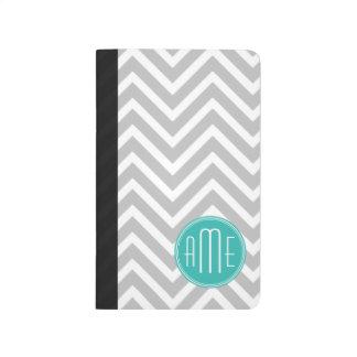 Elegant Modern Gray Chevron and Mint Monogram Journal