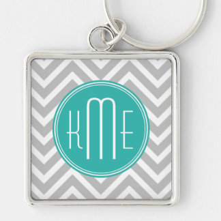 Elegant Modern Gray Chevron and Mint Monogram Key Ring