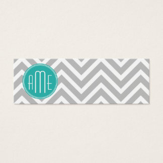 Elegant Modern Gray Chevron and Mint Monogram Mini Business Card