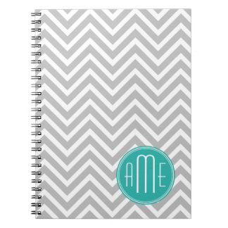 Elegant Modern Gray Chevron and Mint Monogram Notebooks