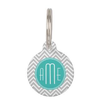 Elegant Modern Gray Chevron and Mint Monogram Pet Tag