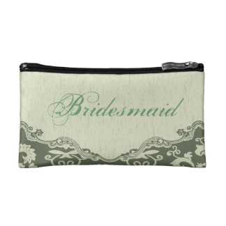 elegant modern Green Floral country bridesmaid Makeup Bags