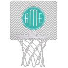 Elegant Modern Grey Chevron and Mint Monogram Mini Basketball Hoop