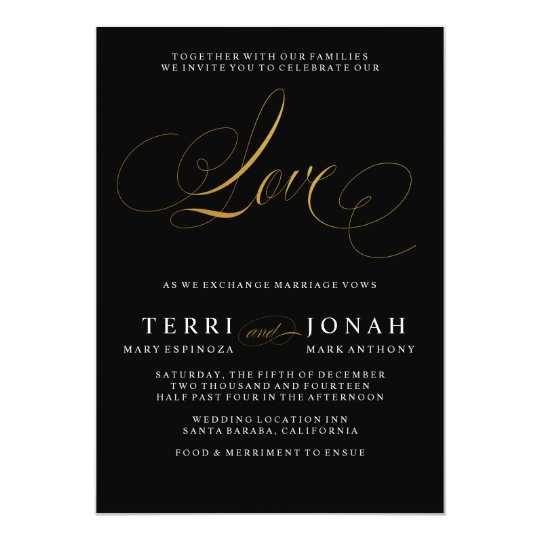 Elegant Modern Love Black Gold Wedding Invitation