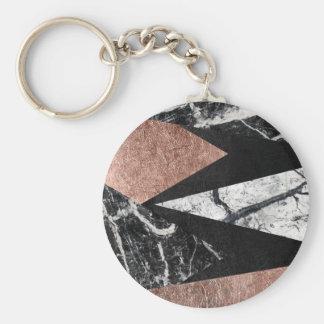 Elegant Modern Marble, Rose Gold, & Black Triangle Basic Round Button Key Ring