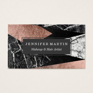 Elegant Modern Marble, Rose Gold, & Black Triangle Business Card