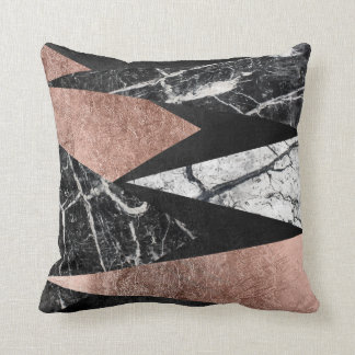 Elegant Modern Marble, Rose Gold, & Black Triangle Cushion