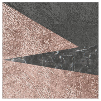 Elegant Modern Marble, Rose Gold, & Black Triangle Fabric