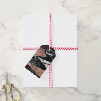 Elegant Modern Marble, Rose Gold, & Black Triangle Gift Tags