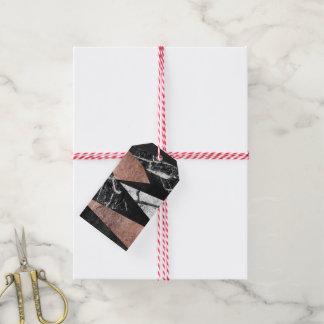 Elegant Modern Marble, Rose Gold, & Black Triangle Gift Tags
