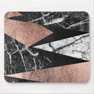 Elegant Modern Marble, Rose Gold, & Black Triangle Mouse Pad