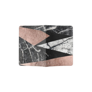 Elegant Modern Marble, Rose Gold, & Black Triangle Passport Holder