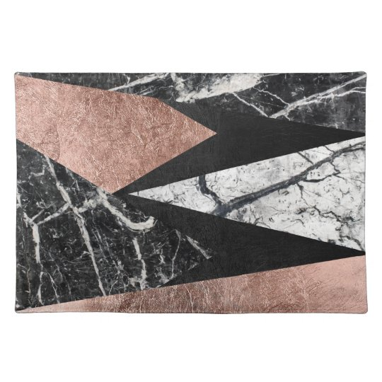 Elegant Modern Marble, Rose Gold, & Black Triangle
