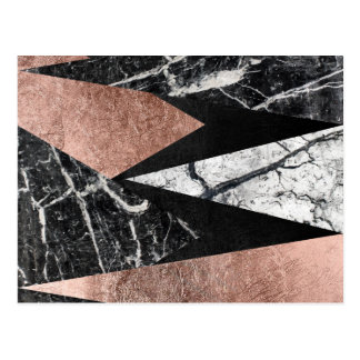 Elegant Modern Marble, Rose Gold, & Black Triangle Postcard