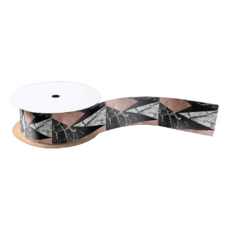 Elegant Modern Marble, Rose Gold, & Black Triangle Satin Ribbon