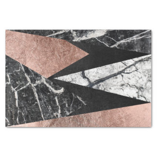 Elegant Modern Marble, Rose Gold, & Black Triangle Tissue Paper