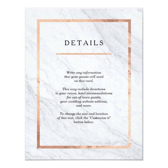 Elegant Modern Marble & Rose Gold Insert Cards