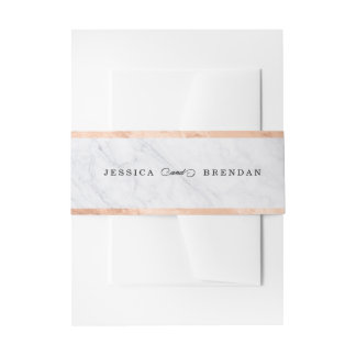 Elegant Modern Marble Rose Gold Wedding Invitation Invitation Belly Band