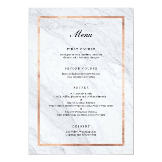 Elegant Modern Marble & Rose Gold Wedding Menu