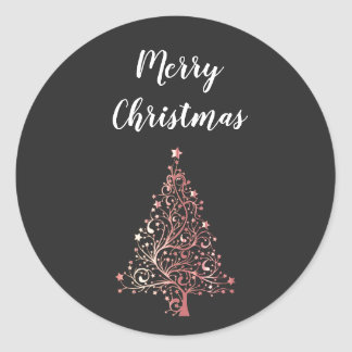 elegant modern Merry Christmas rose gold tree Classic Round Sticker