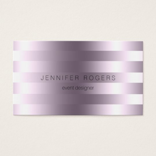 Elegant Modern Metallic Purple Tint Stripes Business Card