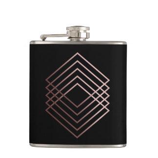 elegant modern minimal faux rose gold geometric hip flask