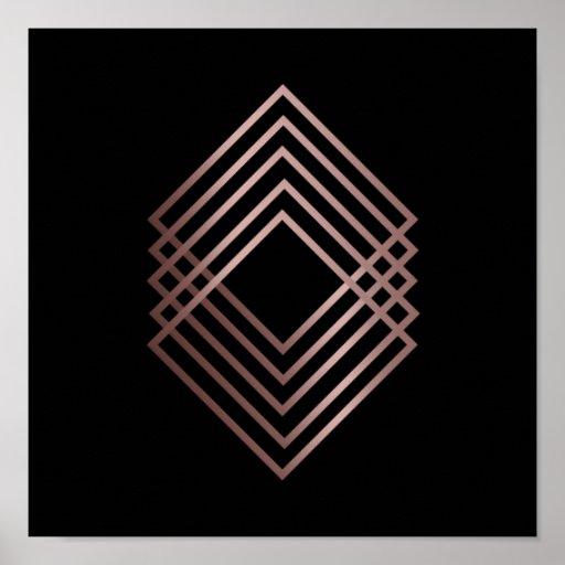 elegant modern minimal faux rose gold geometric poster