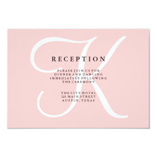 Elegant Modern Monogram in Pink Reception Card