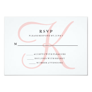Elegant Modern Monogram in Pink RSVP 9 Cm X 13 Cm Invitation Card