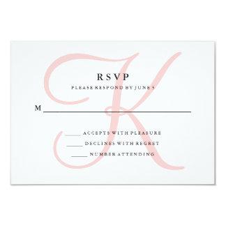 Elegant Modern Monogram in Pink RSVP Card