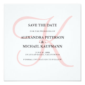 Elegant Modern Monogram in Pink Save the Date 13 Cm X 13 Cm Square Invitation Card