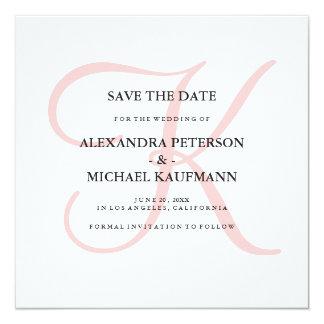 Elegant Modern Monogram in Pink Save the Date Card