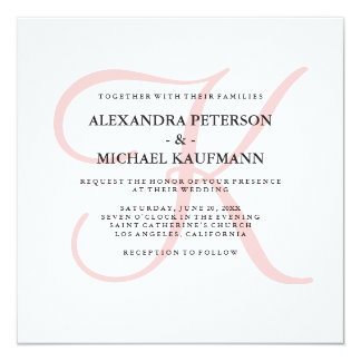 Elegant Modern Monogram in Pink Wedding 13 Cm X 13 Cm Square Invitation Card