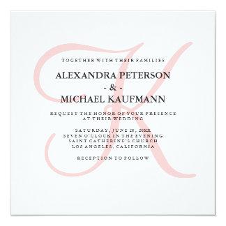 Elegant Modern Monogram in Pink Wedding 13 Cm X 13 Cm Square Invitation Card