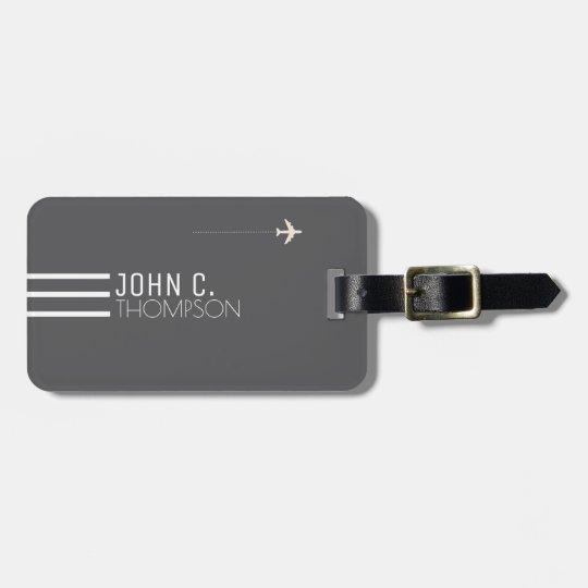 elegant & modern monogram on grey travel luggage