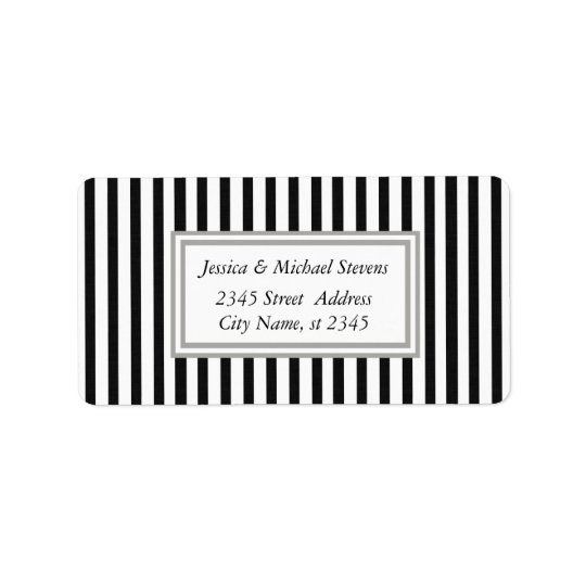 Elegant modern narrow stripes address label
