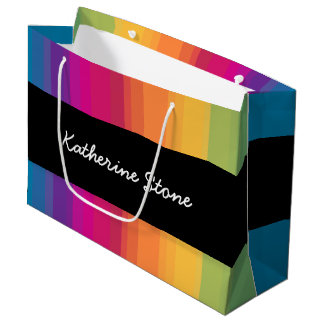Elegant modern ombre gradient colorful rainbow large gift bag