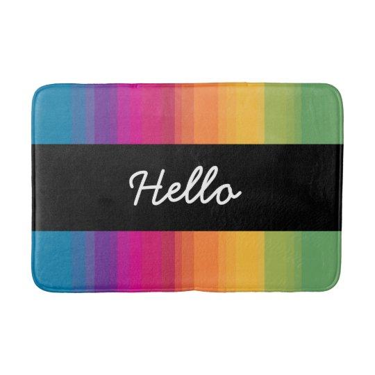 Elegant modern ombre gradient colourful rainbow bath mat