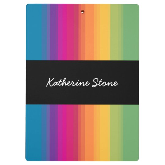 Elegant modern ombre gradient colourful rainbow clipboard
