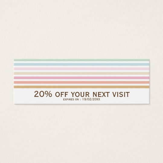 Elegant Modern Pastel Stripes Discount Coupon Mini Business Card
