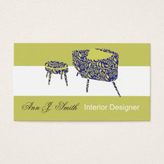 Elegant Modern Pattern Pea Green Interior Design Business Card