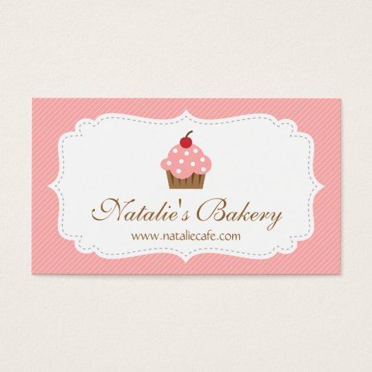 Elegant, Modern, Pink Cupcake, Bakery Business Card