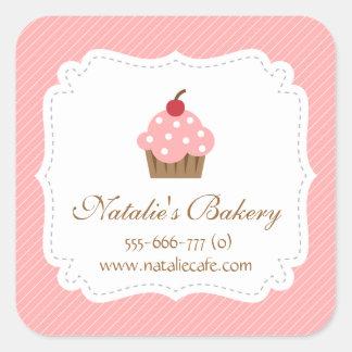 Elegant, Modern, Pink Cupcake, Bakery Square Sticker