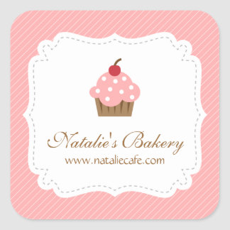 Elegant Modern Pink Cupcake Bakery Square Stickers
