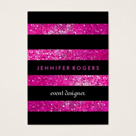 Elegant Modern Pink Glitter & Black Stripes Business