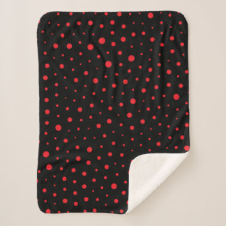 Elegant Modern Polka Dots -Red- Customize BG Sherpa Blanket